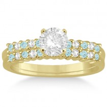 Petite Diamond & Aquamarine Bridal Set 14k Yellow Gold (0.35ct)