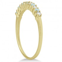 Petite Diamond & Aquamarine Wedding Band 14k Yellow Gold (0.20ct)