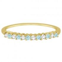 Petite Diamond & Aquamarine Wedding Band 14k Yellow Gold (0.20ct)