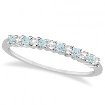 Petite Diamond & Aquamarine Wedding Band 18k White Gold (0.20ct)
