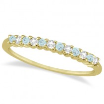 Petite Diamond & Aquamarine Wedding Band 18k Yellow Gold (0.20ct)