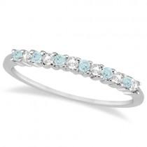 Petite Diamond & Aquamarine Wedding Band Platinum (0.20ct)
