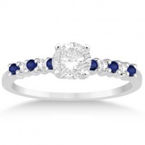 Petite Diamond & Sapphire Engagement Ring 14k White Gold (0.15ct)