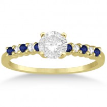 Petite Diamond & Sapphire Engagement Ring 14k Yellow Gold (0.15ct)