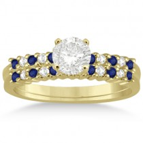 Petite Diamond & Sapphire Bridal Set 14k Yellow Gold (0.35ct)