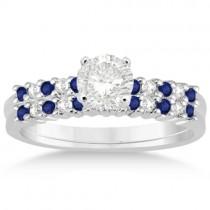 Petite Diamond & Sapphire Bridal Set Platinum (0.35ct)
