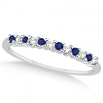 Petite Diamond & Sapphire Wedding Band 14k White Gold (0.20ct)