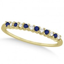 Petite Diamond & Sapphire Wedding Band 18k Yellow Gold (0.20ct)