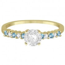 Petite Diamond & Blue Topaz Engagement Ring 14k Yellow Gold (0.15ct)