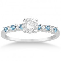 Petite Diamond & Blue Topaz Engagement Ring 18k White Gold (0.15ct)