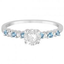 Petite Diamond & Blue Topaz Engagement Ring 18k White Gold (0.15ct)