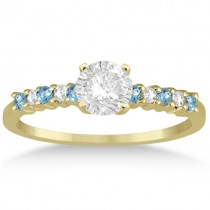Petite Diamond & Blue Topaz Engagement Ring 18k Yellow Gold (0.15ct)