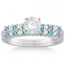 Petite Diamond & Blue Topaz Bridal Set 14k White Gold (0.35ct)
