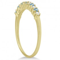 Petite Diamond & Blue Topaz Bridal Set 14k Yellow Gold (0.35ct)