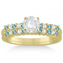 Petite Diamond & Blue Topaz Bridal Set 18k Yellow Gold (0.35ct)