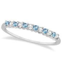 Petite Diamond & Blue Topaz Wedding Band 14k White Gold (0.20ct)