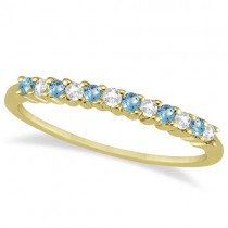 Petite Diamond & Blue Topaz Wedding Band 14k Yellow Gold (0.20ct)