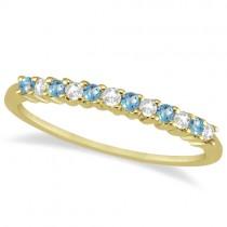 Petite Diamond & Blue Topaz Wedding Band 18k Yellow Gold (0.20ct)