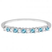 Petite Diamond & Blue Topaz Wedding Band Platinum (0.20ct)