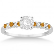 Petite Diamond & Citrine Engagement Ring 18k White Gold (0.15ct)