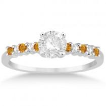 Petite Diamond & Citrine Engagement Ring Platinum (0.15ct)
