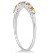 Petite Diamond & Citrine Bridal Set 14k White Gold (0.35ct)