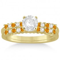 Petite Diamond & Citrine Bridal Set 14k Yellow Gold (0.35ct)