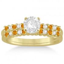 Petite Diamond & Citrine Bridal Set 14k Yellow Gold (0.35ct)