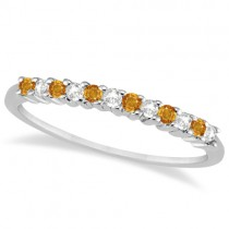 Petite Diamond & Citrine Wedding Band 14k White Gold (0.20ct)