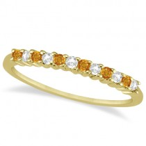 Petite Diamond & Citrine Wedding Band 14k Yellow Gold (0.20ct)