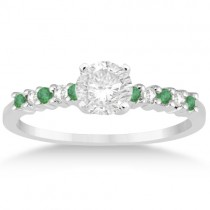 Petite Diamond & Emerald Engagement Ring 14k White Gold (0.15ct)