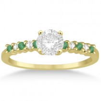 Petite Diamond & Emerald Engagement Ring 14k Yellow Gold (0.15ct)