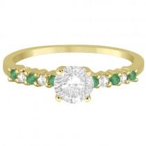 Petite Diamond & Emerald Engagement Ring 18k Yellow Gold (0.15ct)