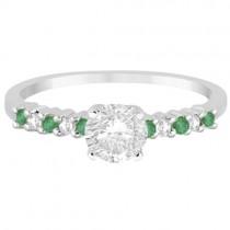 Petite Diamond & Emerald Engagement Ring Platinum (0.15ct)