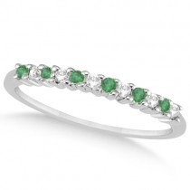 Petite Diamond & Emerald Wedding Band 18k White Gold (0.20ct)