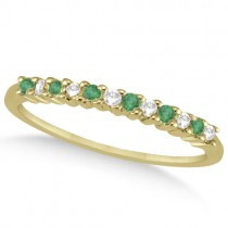 Petite Diamond & Emerald Wedding Band 18k Yellow Gold (0.20ct)