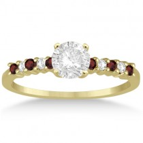 Petite Diamond & Garnet Engagement Ring 14k Yellow Gold (0.15ct)