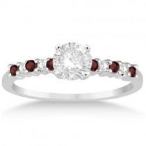 Petite Diamond & Garnet Engagement Ring 18k White Gold (0.15ct)