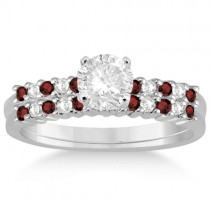 Petite Diamond & Garnet Bridal Set 14k White Gold (0.35ct)