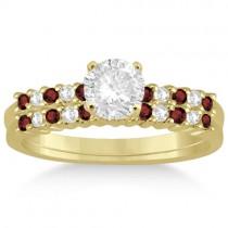 Petite Diamond & Garnet Bridal Set 14k Yellow Gold (0.35ct)