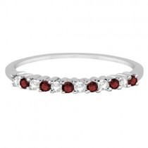 Petite Diamond & Garnet Wedding Band 14k White Gold (0.20ct)