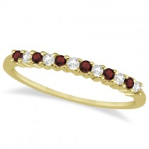 Petite Diamond & Garnet Wedding Band 14k Yellow Gold (0.20ct)
