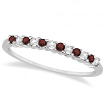 Petite Diamond & Garnet Wedding Band 18k White Gold (0.20ct)