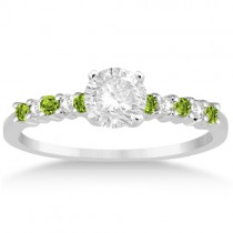 Petite Diamond & Peridot Engagement Ring 14k White Gold (0.15ct)