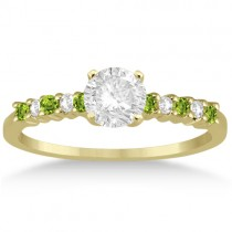 Petite Diamond & Peridot Engagement Ring 14k Yellow Gold (0.15ct)