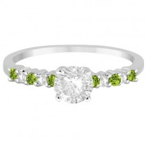 Petite Diamond & Peridot Engagement Ring 18k White Gold (0.15ct)