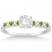 Petite Diamond & Peridot Engagement Ring Palladium (0.15ct)