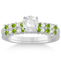Petite Diamond & Peridot Bridal Set 14k White Gold (0.35ct)