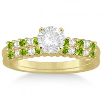 Petite Diamond & Peridot Bridal Set 14k Yellow Gold (0.35ct)