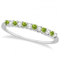 Petite Diamond & Peridot Wedding Band 14k White Gold (0.20ct)